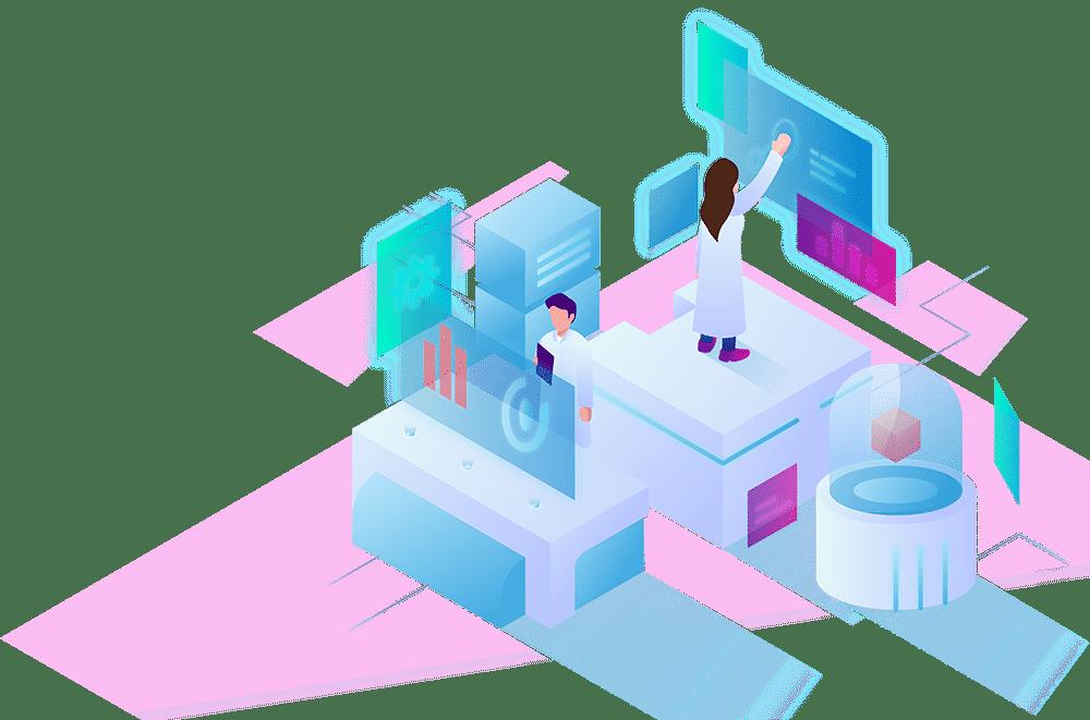Naučnici u laboratoriji ilustracija
