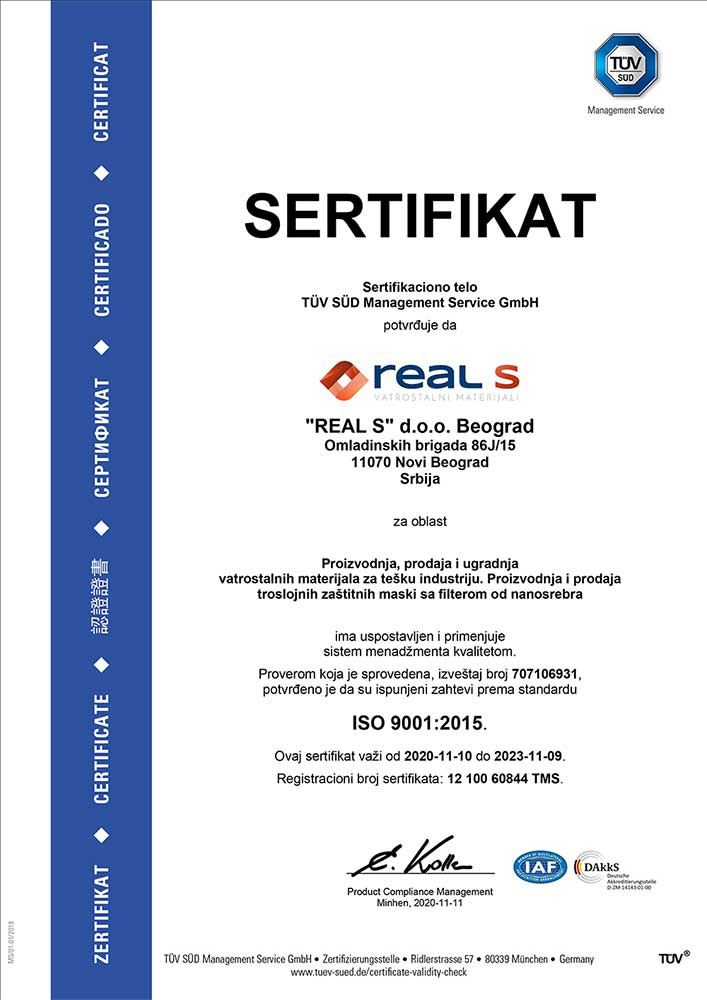 ISO 9001:2015 sertifikat
